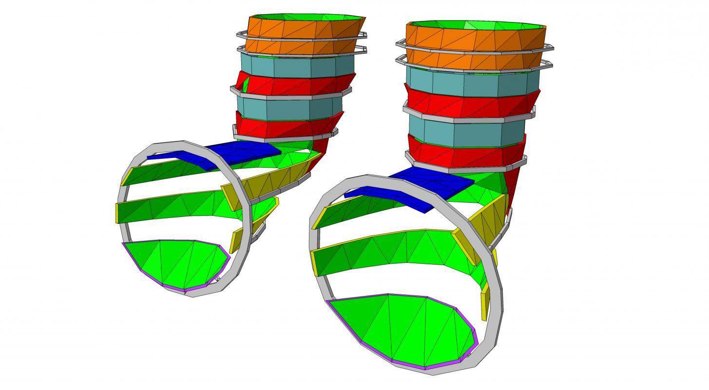 Typologie des géométries des panneaux d'habillage du cône.