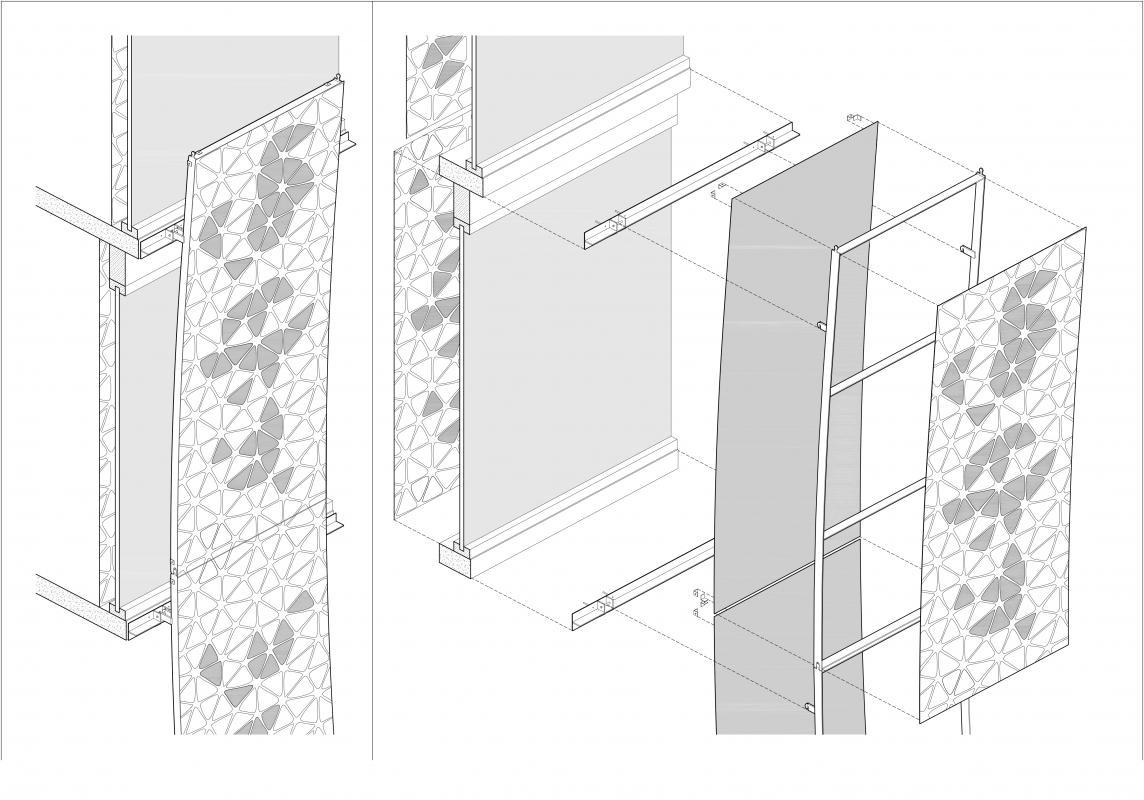 Axonométrie éclatée montrant le montage des panneaux de la voile du Printemps de l'homme.