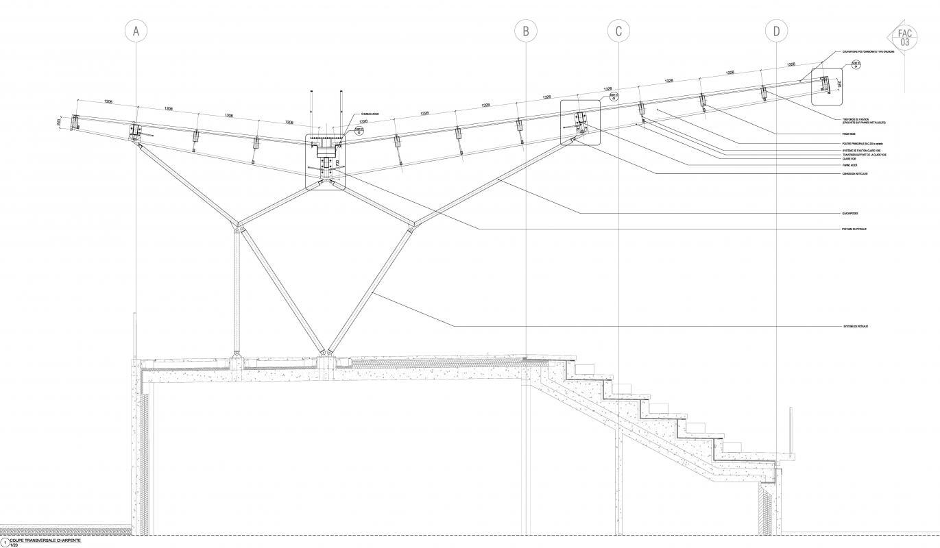 Coupe verticale sur la tribune