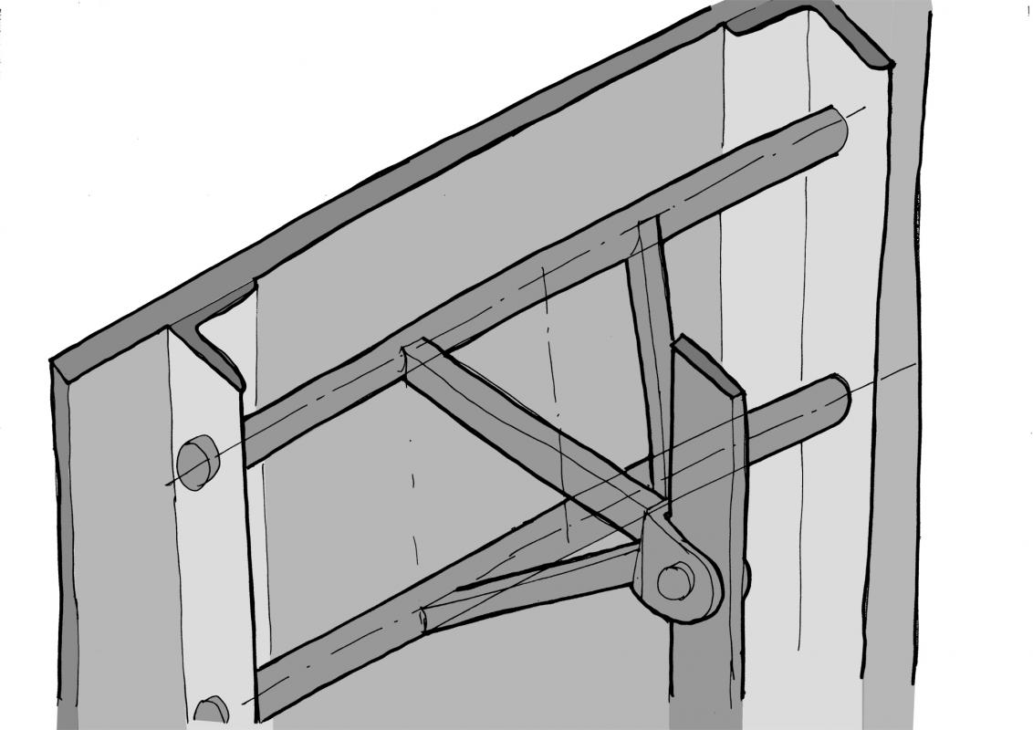 Détail T/E/S/S de la fixation haute des panneaux inclinés.