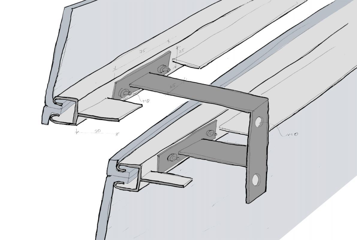 Croquis du dispositif de fixation des panneaux en polycarbonate.