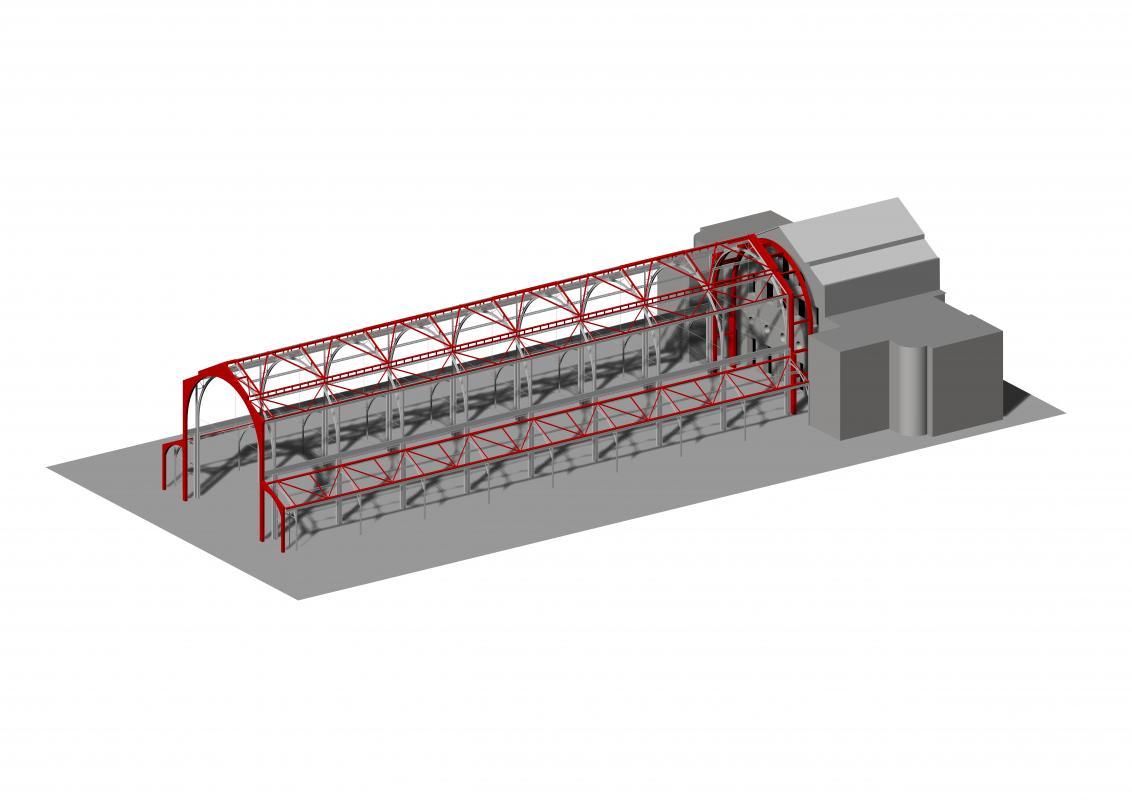 Modélisation de la structure de la halle.