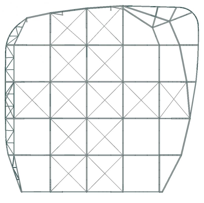 Plan de la charpente métallique.