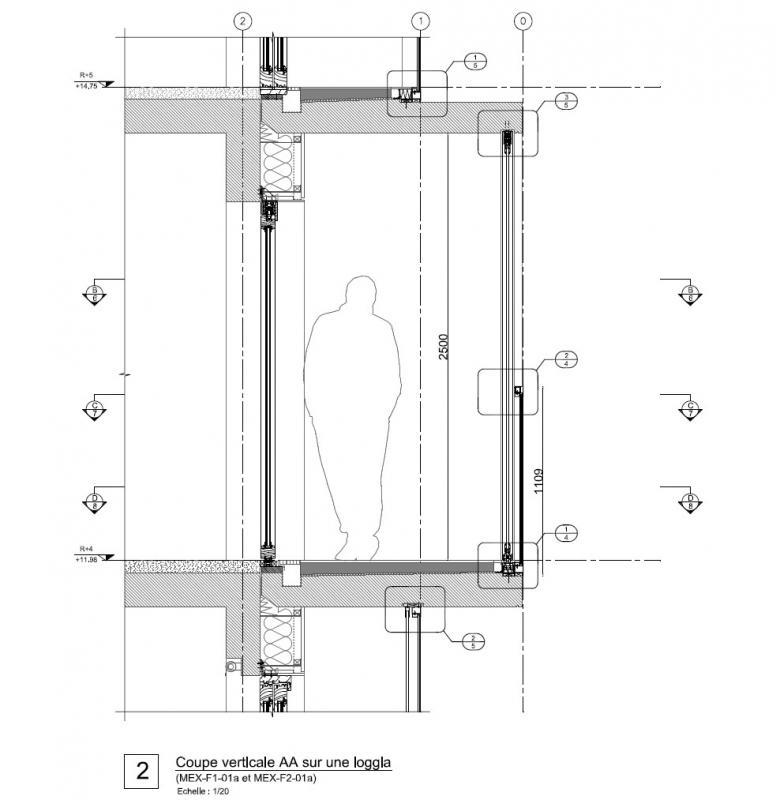 Coupe verticale sur une loggia.