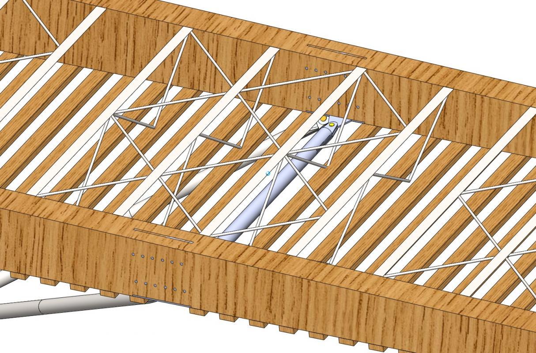Détail de la claire-voie en bois de la couverture