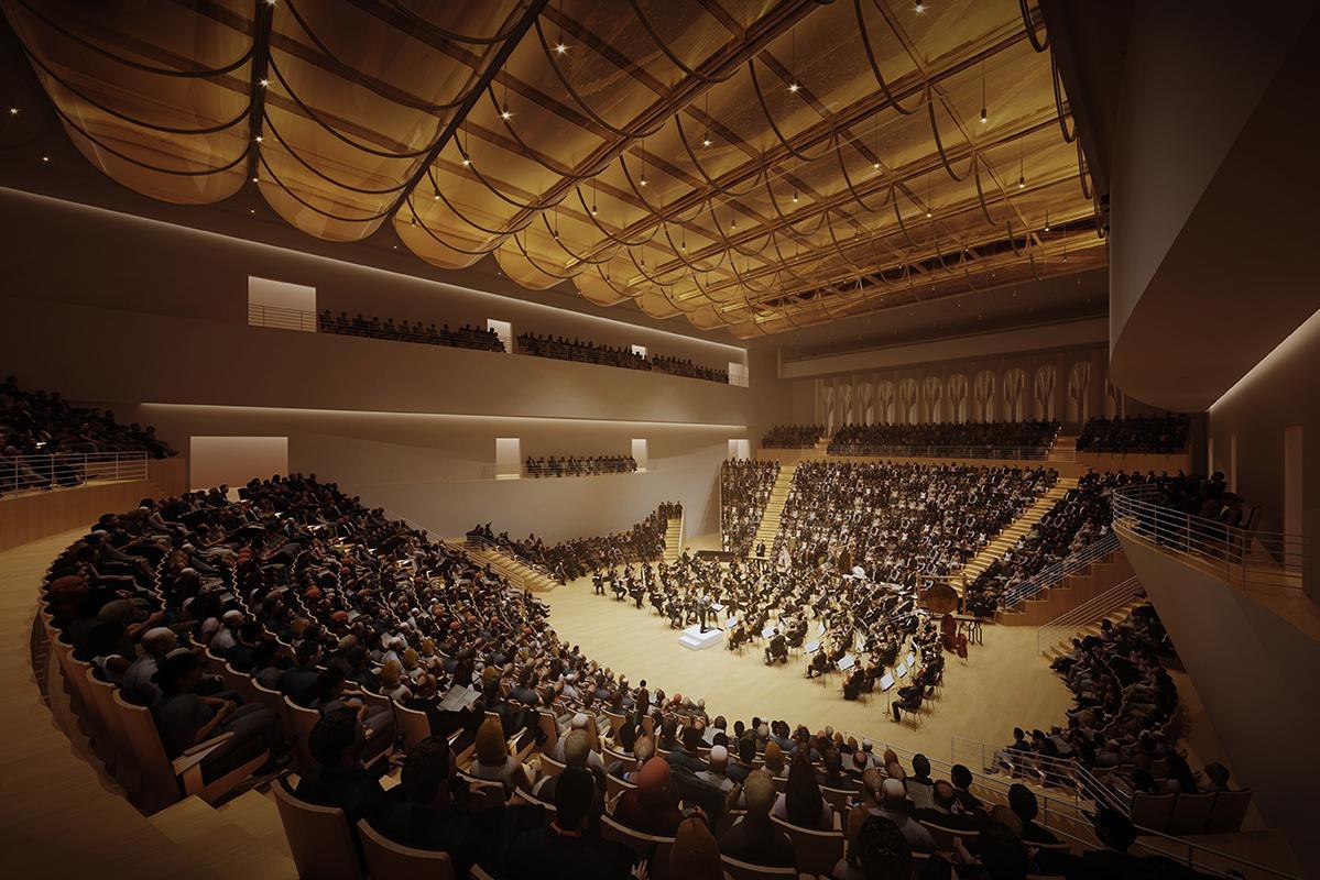 Salle de concert. Vue nocturne.