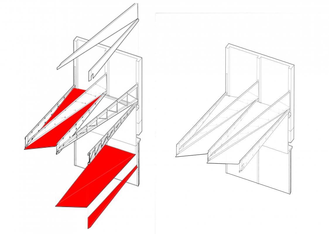 Axonométrie de la structure et des vitrages.