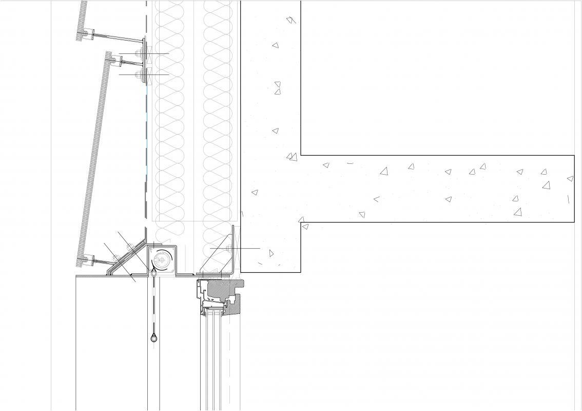 Coupe verticale de la façade.