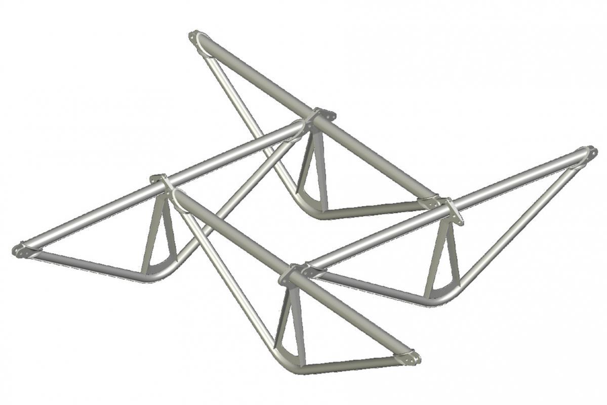 Module de base: assemblage de 4 poutres triangulaires en nexorade.