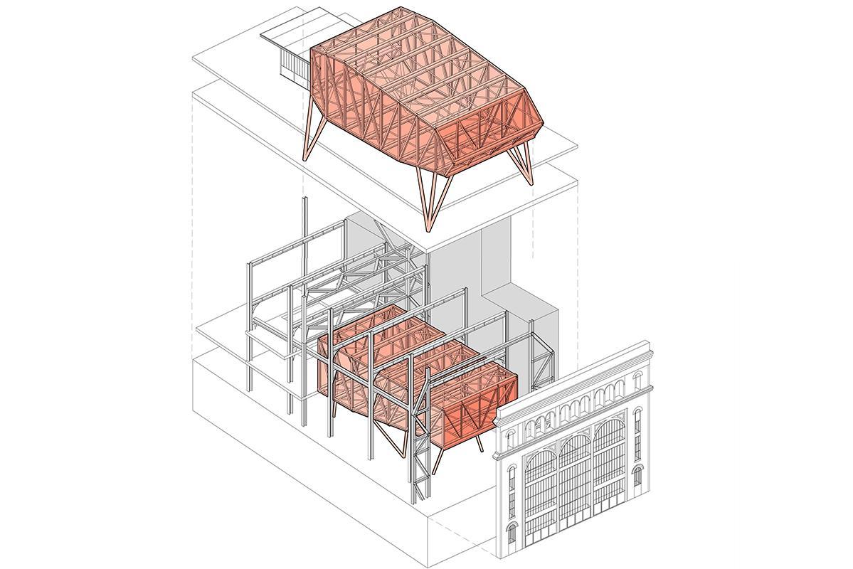 Axonométrie éclatée des salles de protection intégré dans le bâtiment existant.