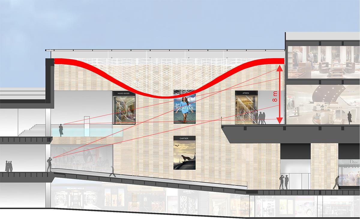 Coupe sur l'atrium du centre commercial Iguatemi. Architectes : Carbondale