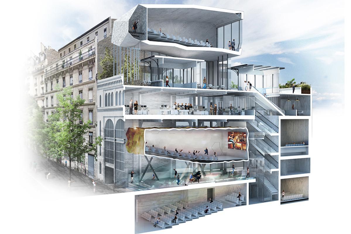 Coupe axonométrique Réinventer Paris Etoile Voltaire (étoile cinéma). T/E/S/S atelier d'ingénierie