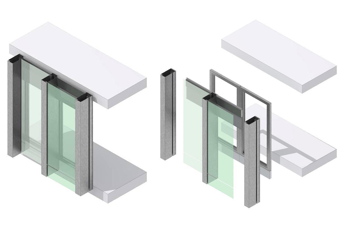 Eclaté d'un module de la façade double peau verticale.