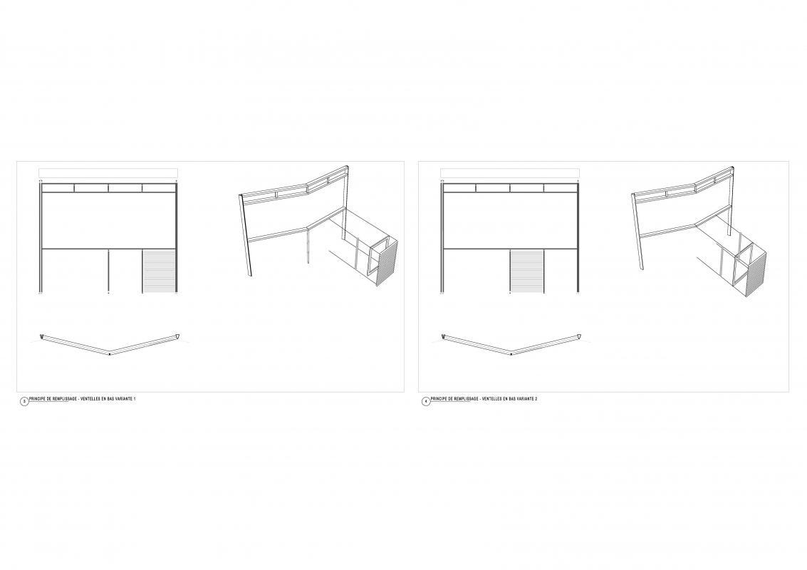 Axonométrie des typologie de plis de la façade.