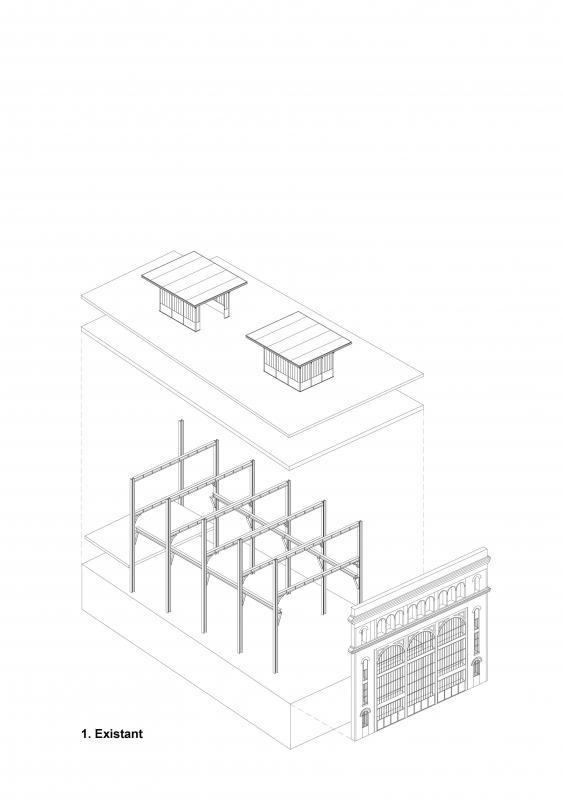 Bâtiment existant (sous station voltaire - Réinventer Paris - T/E/S/S atelier d'ingénierie)