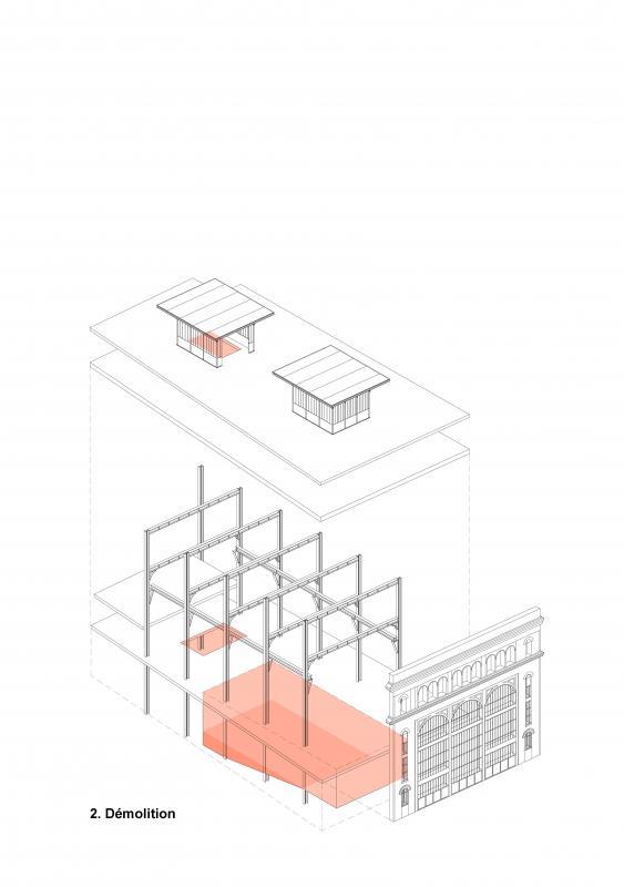 Démolition (sous station voltaire - Réinventer Paris - T/E/S/S atelier d'ingénierie)
