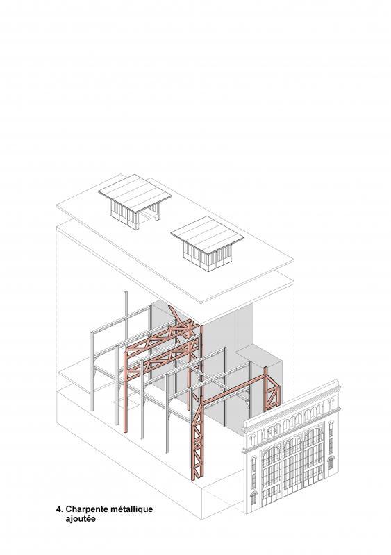 Charpente métallique ajoutée (sous station voltaire - Réinventer Paris - T/E/S/S atelier d'ingénierie)