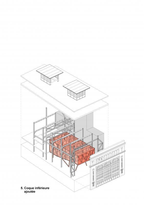 Intégration de la coque inférieure dans le bâtiment (sous station voltaire - Réinventer Paris - T/E/S/S atelier d'ingénierie)