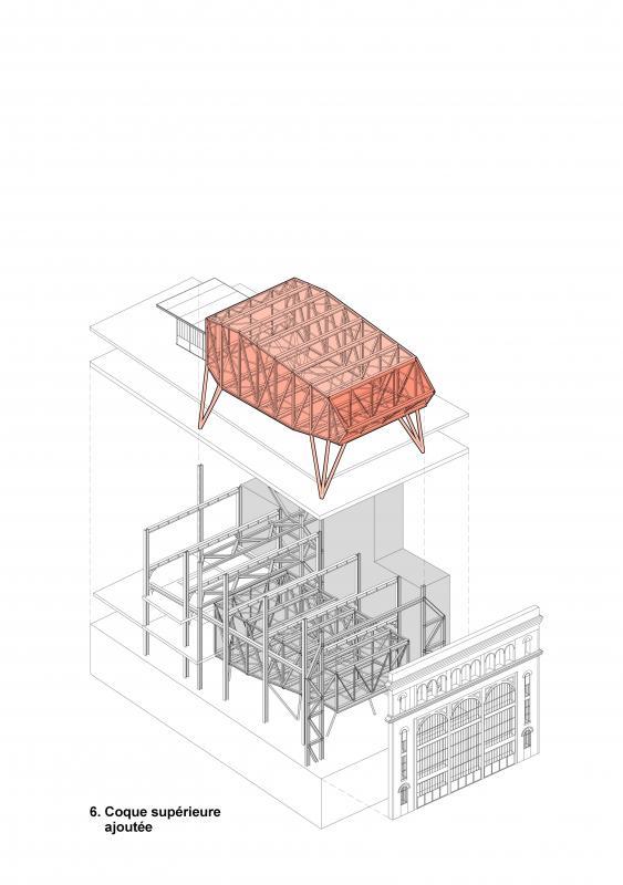 Intégration de la coque supérieure dans le bâtiment (sous station voltaire - Réinventer Paris - T/E/S/S atelier d'ingénierie)
