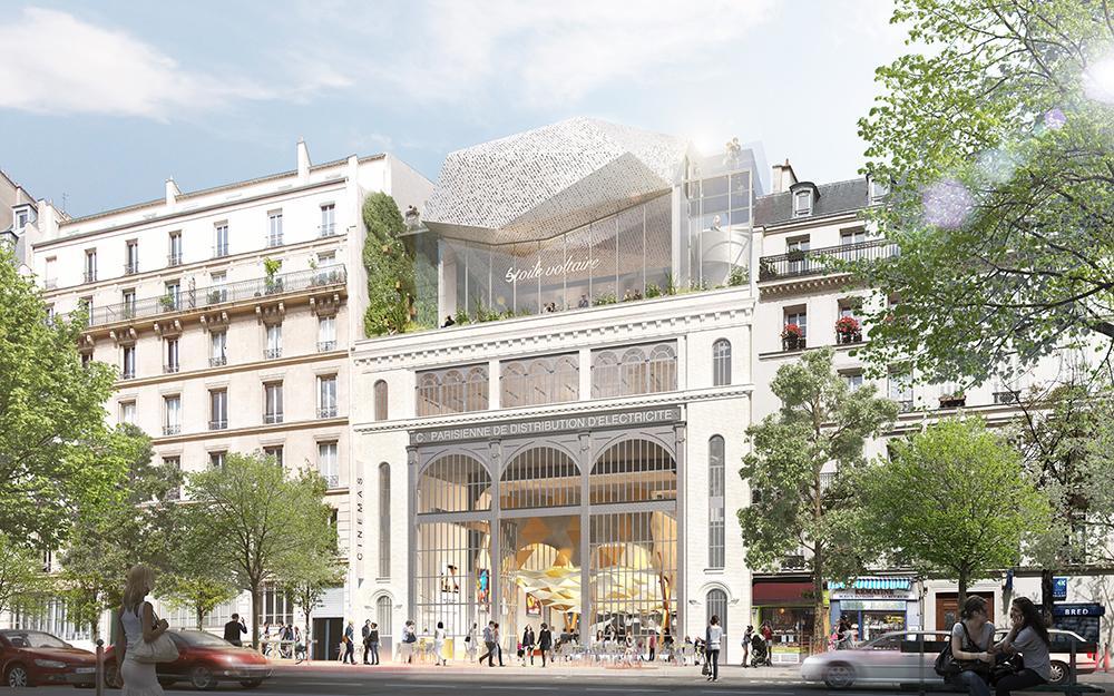 Vue architecte Réinventer Paris Etoile Voltaire (étoile cinéma). T/E/S/S atelier d'ingénierie