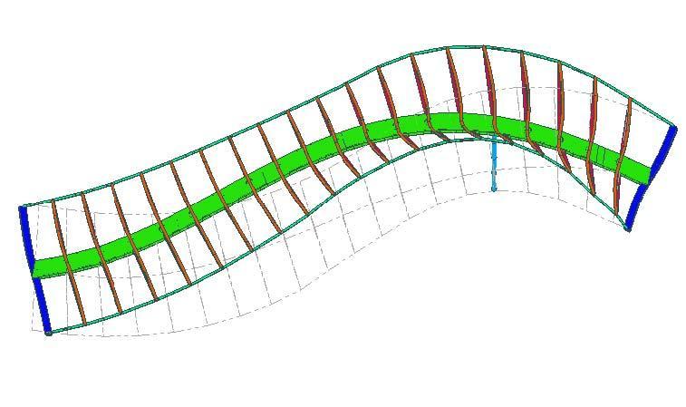 Calculs d'efforts de la poutre caisson de la passerelle.