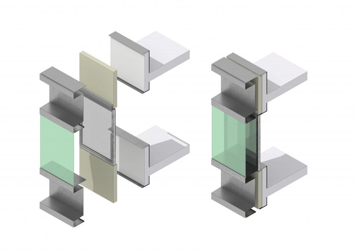 Eclaté d'un module de la façade double peau horizontale.