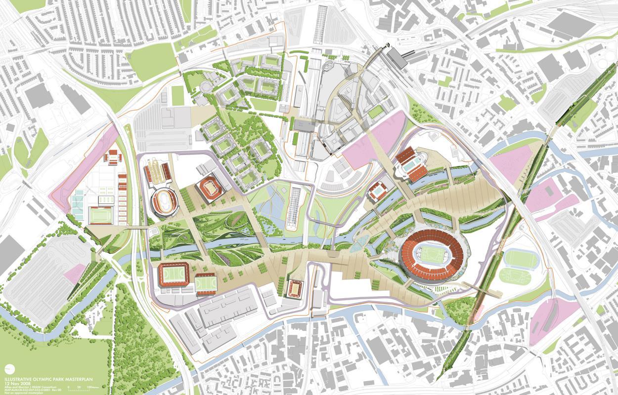 Plan masse du Parc Olympique des JO de 2012 à Londres.