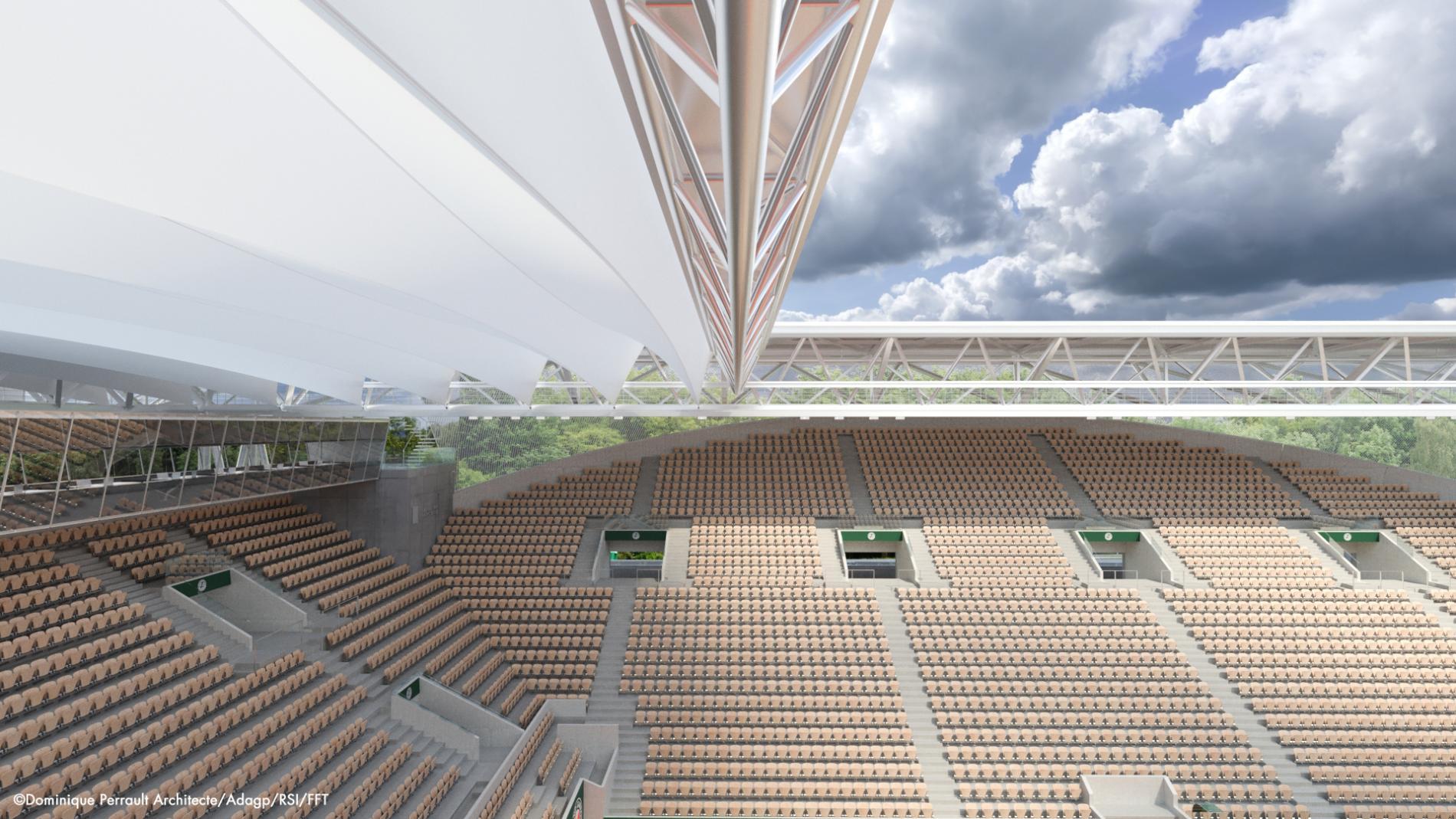 Le plissé de Suzanne Lenglen / Couverture du court Suzanne Lenglen à Roland Garros.