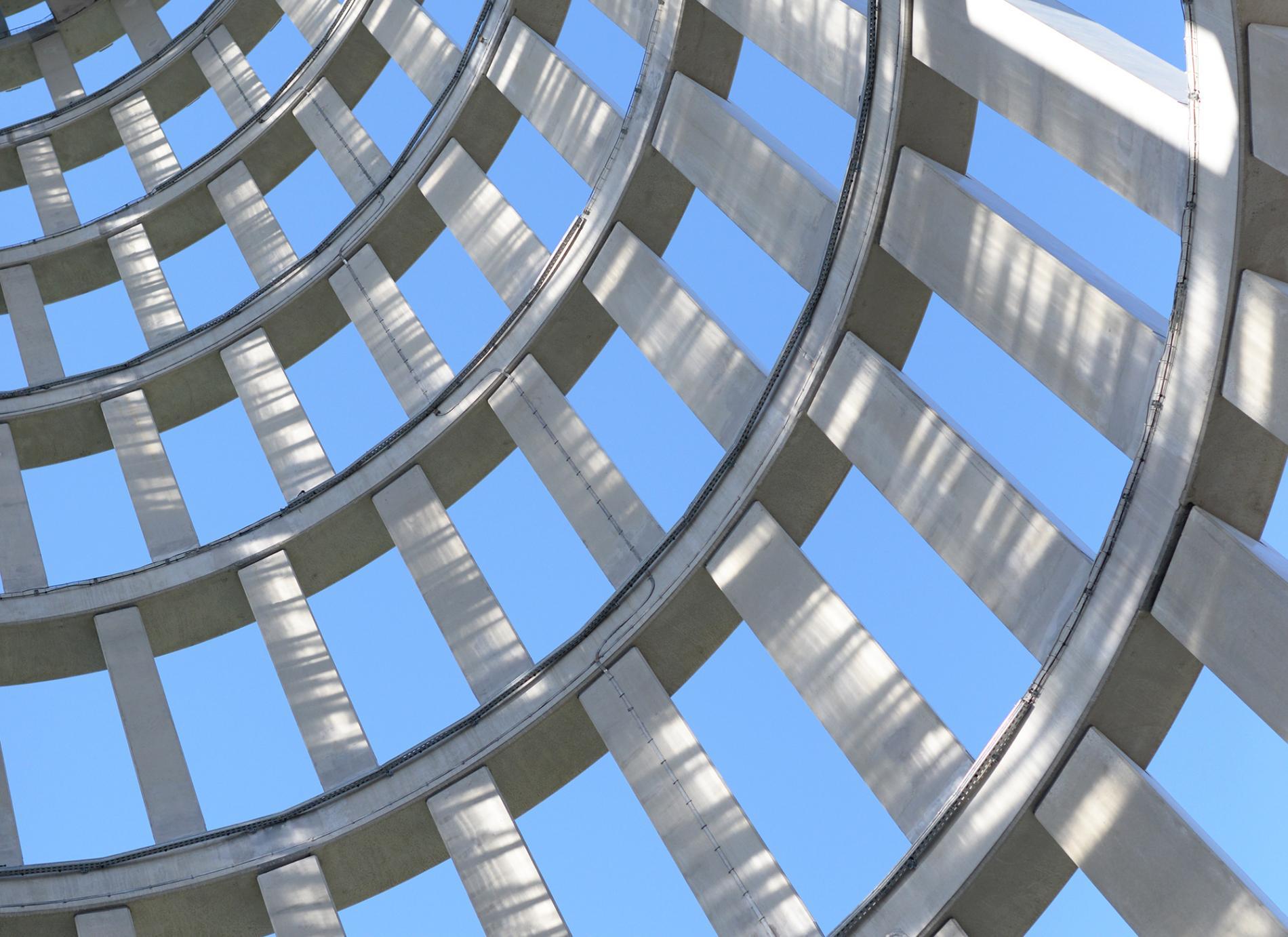 Structure de la tour radar de Saclay (vue intérieure), T/E/S/S atelier d'ingénierie