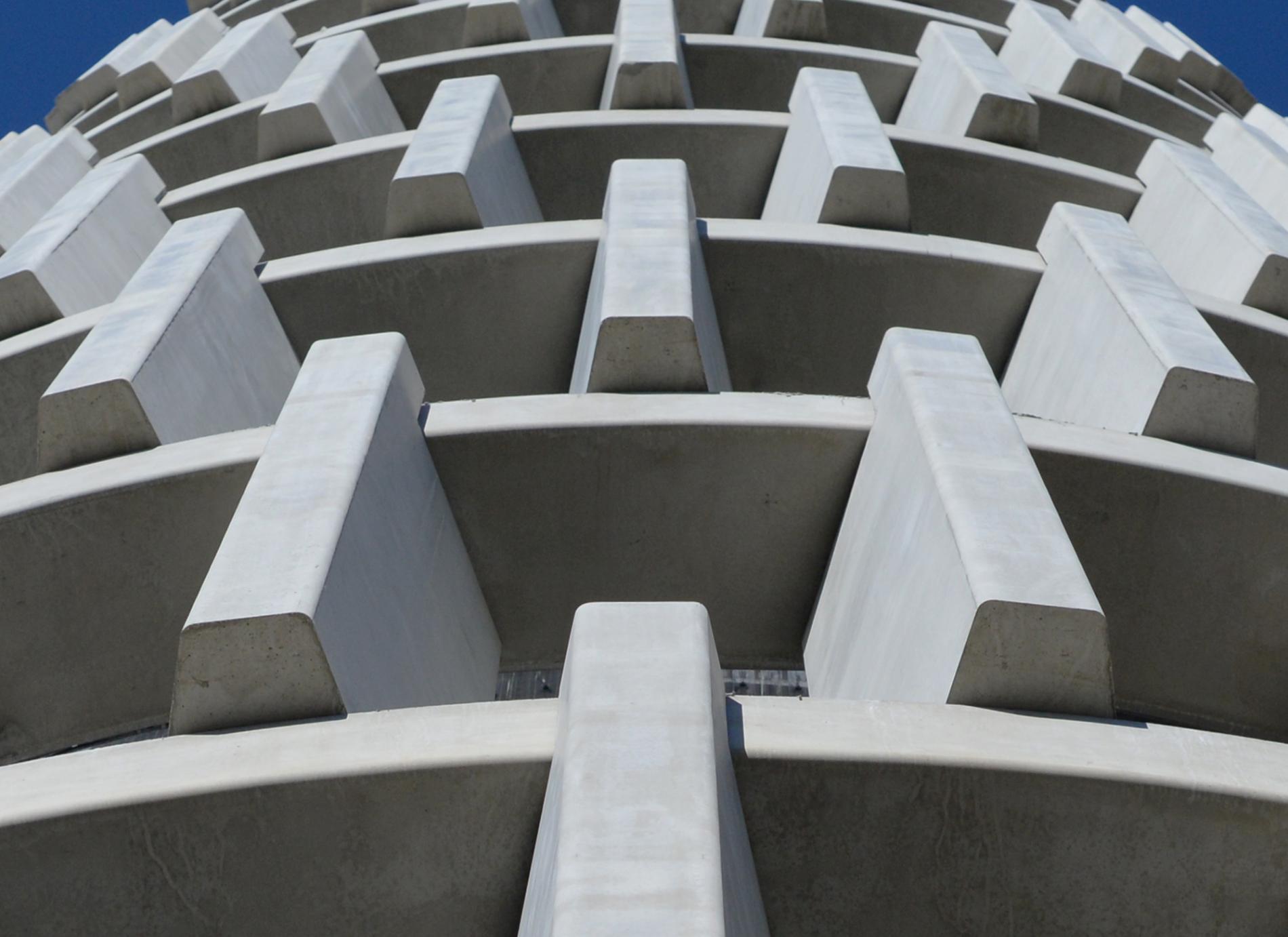 Structure en béton de la tour radar, Plateau de Saclay, T/E/S/S atelier d'ingénierie
